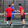 Winnacunnet's Dylan Taylor shakes hands with Memorial's Nicholas Provencher and Cowan Tsang after the #1 doubles match at Friday's NHIAA DIV I Boys Tennis match between Winnacunnet and Memorial high Schools on 4-7-2017 @ WHS.  Matt Parker Photos