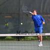 Winnacunnet's #1 singles Dylan Taylor vs Jared Whalen of the Broncos of Alvirne High School in NHIAA DIV I Boys Tennis on Monday 5-8-2017 @ WHS.  Matt Parker Photos