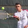 #2 singles player Austin Gill of the Broncos vs Winnacunnet's Dimitri Minichello of Winnacunent High School in NHIAA DIV I Boys Tennis on Monday 5-8-2017 @ WHS.  Matt Parker Photos