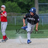Hampton Black's #6 Ryan Eaton keeps his eyes on the ball as he heads to 3rd off a triple by teammate #1 James O'Hara at Monday's 1st Round Seacoast Baseball U13-14 playoffs between Hampton Black vs Exeter Red on 6-26-2017 @ Tuck Field Hampton, NH.  Matt Parker Photos