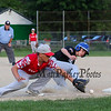 The throw to Exeter Red's 3rd baseman #27 Kevin Bowe is off target allowing Hampton Black's #7 Patrick Britton to get safely on 3rd at Monday's 1st Round Seacoast Baseball U13-14 playoffs between Hampton Black vs Exeter Red on 6-26-2017 @ Tuck Field Hampton, NH.  Matt Parker Photos