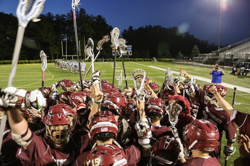 The Clipper's Boys Lacrosse team celebrates after winning Wednesday's NHIAA DIV II Semi-Finals game over Dover on 6-7-2017 @ Stellos Stadium, Nashua, NH.  Matt Parker Photos