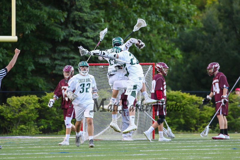 Dover's goal keeper #5 Noah Schwartz steps out to defend against Clippers #7 Ryan Grouleau during Wednesday's NHIAA DIV II Semi-Finals game between Portsmouth and Dover High Schools on 6-7-2017 @ Stellos Stadium, Nashua, NH.  Matt Parker Photos