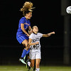 Winnacunnet's #3 Hannah Driscoll elevates over Exeter's #19 Cammille Sweet to make a head ball during Friday Night's DIV I Girls Soccer game between Exeter and Winnacunnet High Schools on 9-22-2017 @ Bill Ball Stadium, EHS.  Matt Parker Photos