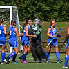 Winnacunnet's goal keeper Nikki Tredwell is congratulated by teammates after beating Exeter 4-3 at Saturday's NHIAA DIV I Field Hockey game between Exeter and Winnacunnet on 9-23-2017 @ Eustis Field, Bill Ball Stadium.  Matt Parker Photos