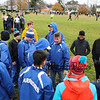 Winnacunnet Richard (Ozzie) Osborne with his boys runners prior to the start of the 84th New England High School  Interscholastic Cross Country Championships Derryfield Park, Manchester, NH on Saturday 11-10-2018.  Matt Parker Photos
