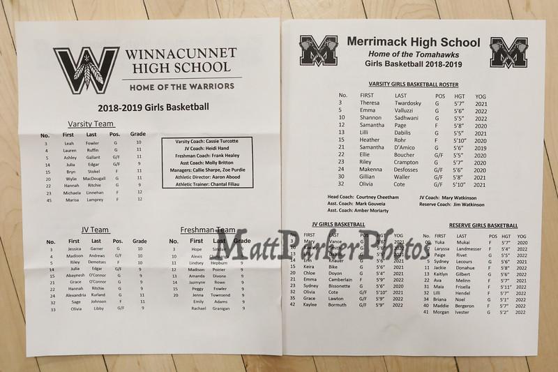 Roster of the Winnacunnet Warriors Girls Basketball vs the Tomahawks of Merrimack High School on Friday 12-21-2018 @ WHS.  WHS-46, MHS-62.  Matt Parker Photos