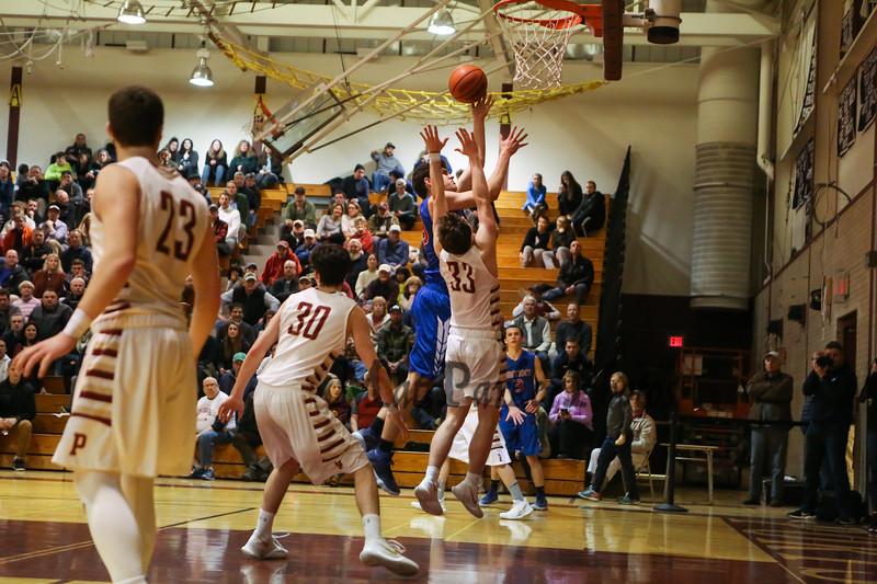 Portsmouth Clippers Boys Basketball vs the Warriors of Winnacunnet High School on Friday 2-23-2018 @ PHS.  Matt Parker Photos