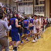 Portsmouth players shake hands with Winnacunnet after the Clippers win Saturday's Quarterfinal boys basketball game between Portsmouth and Winnacunnet on 3-10-2018 @ PHS.  Matt Parker Photos