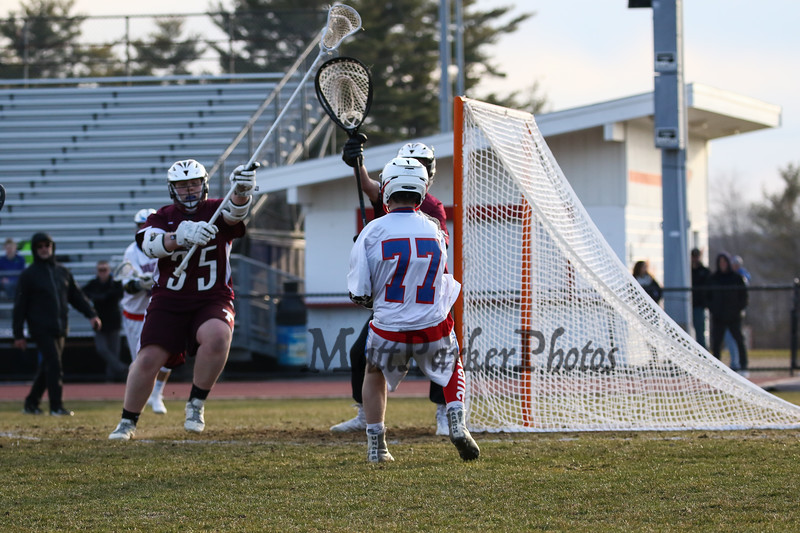 Winnacunnet Warriors Boys JV Lacrosse vs the Owls of Timberlane High School in DIV II play on Wednesday 4-11-2018 @ WHS.  Matt Parker Photos