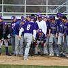 Nashua South's #8 Jake Smith is congratulated by his teammates after hitting a home run in Wednesday's baseball game between Winnacunnet and Nashua South High Schools on 4-18-2018 @ WHS.  Matt Parker