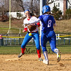 Winnacunnet's short stop #5 Ashley Gallant is unable to contain the throw to 2nd putting Salem's #8 Becca Simons safely on the bag at Friday's Girls Softball game between Winnacunnet and Salem High Schools on 4-20-2018.  Matt Parker Photos