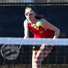 Coe-Brown's Megan Wimsatt moves toward the net to make a play on a ball returned by Clippers Hanna Street in Thursday's #1 girls singles match between Portsmouth High School and Coe-Brown Northwood Academy on 4-5-208 @ South Mill Pond Tennis Courts, Portsmouth, NH.  Matt Parker Photos