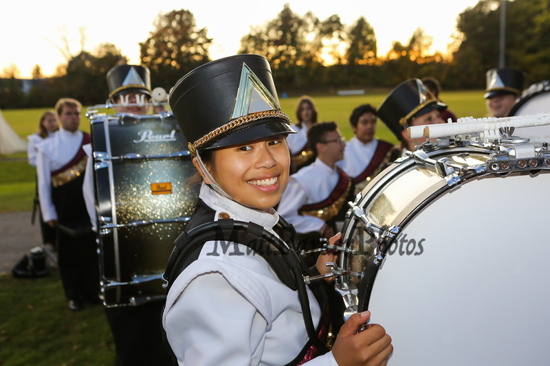 Clippers senior Emma Savage plays the base drum as they get ready for the start of their home opener at Friday Night's football game between the Portsmouth Clippers Football vs the Red Raiders of Spaulding High School on 9-27-2019 @ PHS.  [Matt Parker/Seacoastonline]