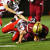 Portsmouth's #7 jack Russo being tackled by Spaulding's #20 Jacob King, Portsmouth Clippers Football vs the Red Raiders of Spaulding High School on Friday Night 9-27-2019 @ PHS.  Matt Parker Photos
