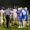 Captains #62 Keith Albergo, Richard Camarato and #42 Dylan Atwood, during the coin toss, Winnacunnet Warriors Football game vs the Purple Panthers of Nashua South High School on Friday Night 10-11-2019 @ WHS.  WHS-0, NSHS-19.  Matt Parker Phots
