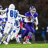 Marshwood's RB #28 John Valentine makes his way to the endzone before the play is called back for a Marshwood penalty with Rams #88 Maximillian Bordas reaching to make a play at Friday Night's game between Marshwood and Kennebunk High Schools @ MHS.  [Matt Parker/Seacoastonline]
