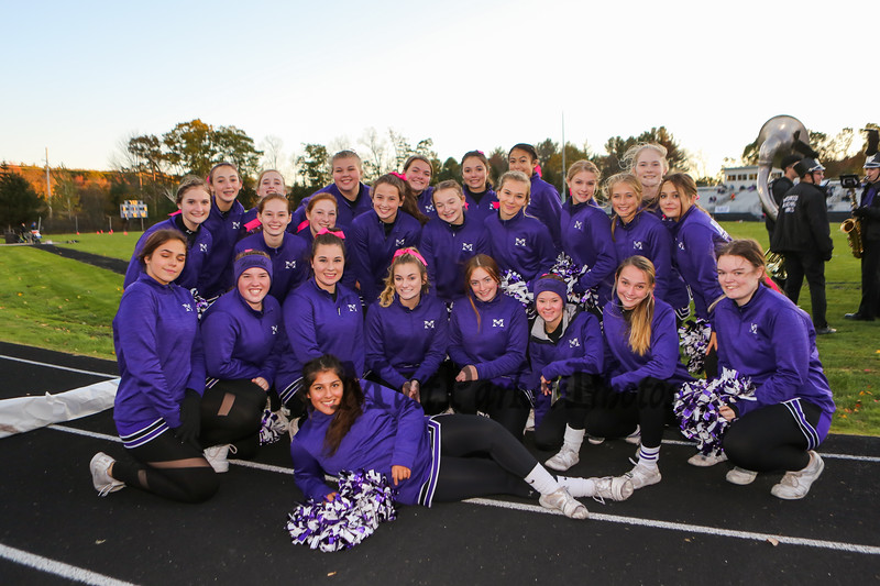 The Marshwood Hawks cheerleaders pose for a photo prior to the start of Friday Night's football game between Marshwood and Kennebunk High Schools @ MHS.  [Matt Parker/Seacoastonline]
