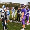 The Rams and the Hawks meet at centerfield for the coin toss at Friday Night's football game between Marshwood and Kennebunk High Schools @ MHS.  [Matt Parker/Seacoastonline]