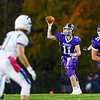Marshwood's QB #11 Connor Caverly makes a pass to #27 Justin Bryant at Friday Night's game between Marshwood and Kennebunk High Schools @ MHS.  [Matt Parker/Seacoastonline]