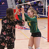 BG players are introduced at the start of Thursday's game, Winnacunnet Warriors Girls Volleyball 1st round DIV I NHIAA playoff game vs the Cardinals of Bishop Guertin High School on Thursday 10-31-2019 @ WHS.  WHS-3, BG-0.  Matt Parker Photos