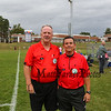 """Referees Kevin and Kevin, Winnacunnet Warriors Girls Soccer vs the Tomahawks of Merrimack High School on """"Kick out Cancer"""" Pink Day, Monday 10-7-2019 @ WHS.  WHS-4, MHS-3.  Matt Parker Photos"""