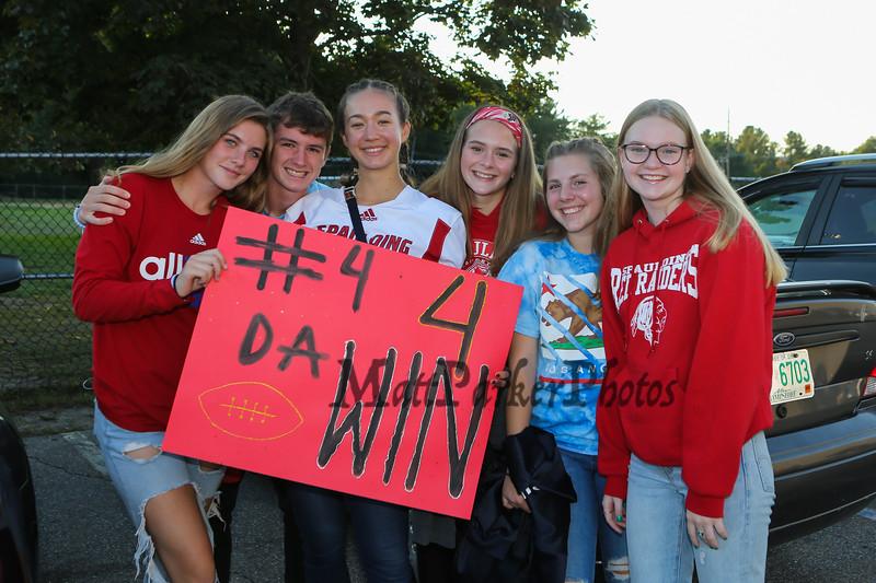 Spaulding Red Raiders fans at Friday Night's football game between the Spaulding Red Raiders vs the Warriors of Winnacunnet High School on 9-20-2019 @ SHS, Rochester NH.  [Matt Parker/Seacoastonline]