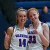 WHS's #14 Riley Demotses and #33 Casey Coleman, Winnacunnet Warriors Girls Varsity Basketball game vs the Crusaders of Memorial High School on Friday 1-10-2020 @ WHS.  WHS-14, MHS-50.  Matt Parker Photos