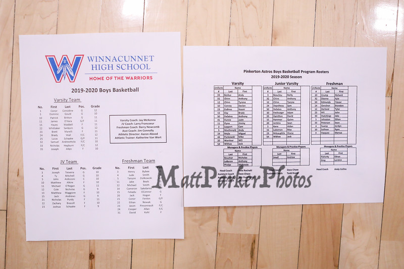 Roster, Winnacunnet Warriors Boys Basketball game vs the Astros of Pinkerton Academy on Tuesday 1-14-2020 @ WHS.  WHS-53, PA-23.  Matt Parker Photos