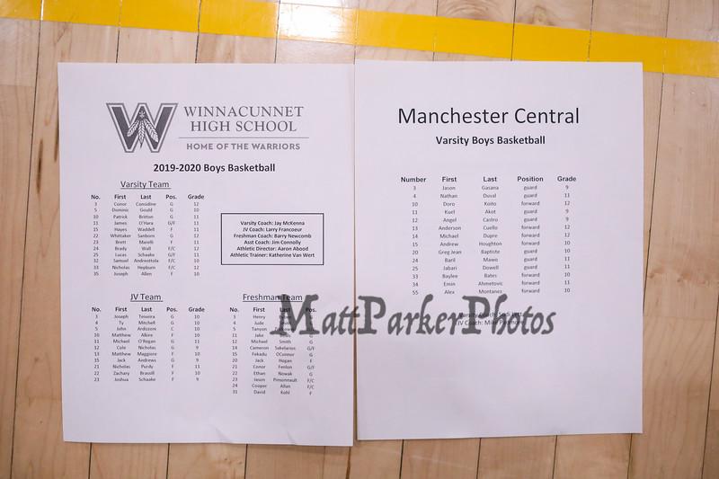 Roster, Winnacunnet Warriors Boys Basketball game vs the Little Green of Central High School on Friday 1-16-2020 @ WHS. WHS-66, CHS-43.  Matt Parker Photos