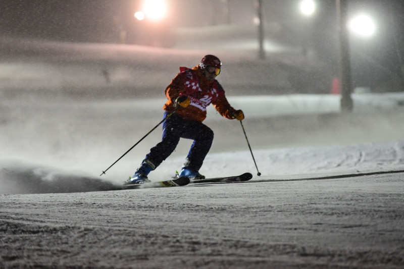 """KRISTOPHER RADDER - BRATTLEBORO REFORMER<br /> People ski down the slopes at Stratton Mountain under the glow of lights during the fifth annual 24 Hours of Stratton on Saturday, Jan. 7, 2017.<br /> People skied around the clock, as they raised funds to help the Stratton Foundation.<br /> Stratton Foundation Executive Director Tammy Mosher said that her favorite aspect of the event is learning the heartfelt stories of why fundraising and participating in the 24 Hours is important to the athletes.<br /> """"Many choose helping Vermont children in need as their philanthropy, asking family, friends and corporate matching dollars to support the Foundation, and that's what it's all about,"""" she said. """"We are so grateful."""""""