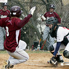 Abington's Brendan Gallagher scores as the ball gets by Plymouth Whitemarsh catcher Jon Fisher.