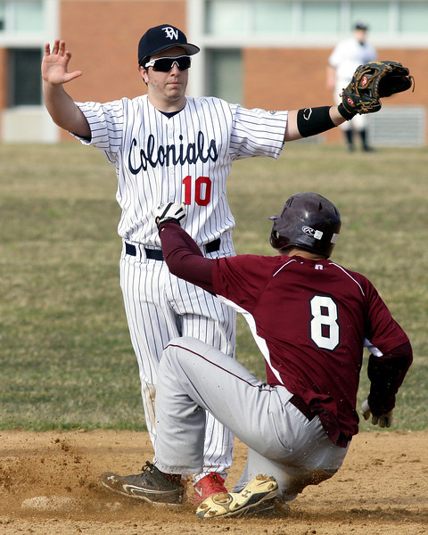 Plymouth Whitemarsh's Matt Nardo signals to hold the throw on a steal by Abington's Brendan Gallagher.