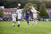 KELLY FLETCHER, REFORMER CORRESPONDENT -- Sam Hall(#5) goes head to head with Taylor Plourde during Brattleboro's season opener against Woodstock on Thursday.