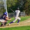 KRISTOPHER RADDER - BRATTLEBORO REFORMER<br /> Brattleboro's Ben Betz hits a single during a baseball game against Mount Anthony Union at Brattleboro Union High School on Wednesday, May 9, 2018.