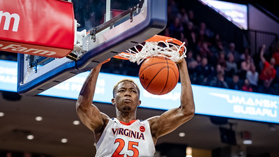 December 22, 2019: Virginia Forward Mamadi Diakite (25) dunks during the NCAA Basketball game between the University of South Carolina Gamecocks and University of Virginia Cavaliers at John Paul Jones Arena in Charlottesville, VA.  Brian McWalters/CSM