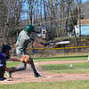 KRISTOPHER RADDER — BRATTLEBORO REFORMER<br /> Leland & Gray's Christian Thomsen hits a single during a baseball game at Bellows Falls at Bellows Falls Union High School on Wednesday, April 17, 2019.