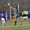 KRISTOPHER RADDER — BRATTLEBORO REFORMER<br /> Bellows Falls' Jeff Rainville safety makes it to first as the ball goes over Leland & Gray's Jeremy Graves during a baseball game at Bellows Falls at Bellows Falls Union High School on Wednesday, April 17, 2019.