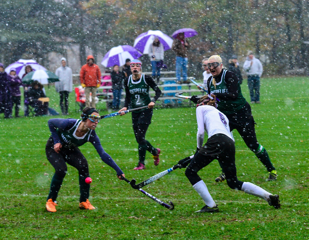. Bellows Falls\' Molly Kelly gets past Montpelier\'s defense to take an attempt on goal during a field hockey playoff game at Bellows Falls Union High School on Thursday, Oct. 27, 2016. Kristopher Radder / Reformer Staff