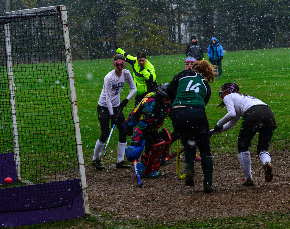 . Bellows Falls\' Leia Robinson scores a goal during a field hockey playoff game at Bellows Falls Union High School on Thursday, Oct. 27, 2016. Kristopher Radder / Reformer Staff