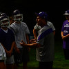 KRISTOPHER RADDER — BRATTLEBORO REFORMER<br /> Bellows Falls Union High School Football Coach Bob Lockerby talks to his team before they take to the practice field during practice on Tuesday, Aug. 13, 2019.