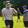 KRISTOPHER RADDER — BRATTLEBORO REFORMER<br /> Bellows Falls' football team runs through different drills during practice on Tuesday, Aug. 13, 2019.