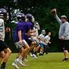 KRISTOPHER RADDER — BRATTLEBORO REFORMER<br /> Bellows Falls Union High School's defensive coordinator runs through some drills during practice on Tuesday, Aug. 13, 2019.