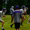 KRISTOPHER RADDER — BRATTLEBORO REFORMER<br /> Bellows Falls Union High School Football Coach Bob Lockerby watches as his players sprint by during practice on Tuesday, Aug. 13, 2019.