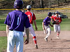 Bellows Falls Jacob Streeter gets trapped on his way to second during a baseball game against Rutland on Thursday, April 21, 2016, at Bellows Falls Union High School. Kristopher Radder / Reformer Staff