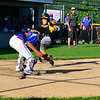 KRISTOPHER RADDER - BRATTLEBORO REFORMER<br /> Bennington's Dreland Caroy tags Brattleboro's Mason North at home during the 10-year-olds District 2 Tournament on Tuesday, July 11, 2017.