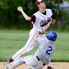 Abington second baseman CJ Brennan throws to first after forcing Bensalem's Chris Kilcoyne.
