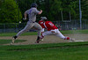 Brattleboro's Conor Hiner could not beat the throw as Rutland's Andy Kenosh gets him out at first during Thursday's baseball game at Brattleboro Union High School. Kristopher Radder / Reformer Staff