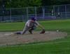 Ball gets by Brattleboro's Stephen Kerylow during Thursday's baseball game at Brattleboro Union High School. Kristopher Radder / Reformer Staff