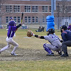 KRISTOPHER RADDER - BRATTLEBORO REFORMER<br /> Bellows Falls' Lucas Saunders is hit by the ball during a baseball game against Brattleboro at Brattleboro Union High School on Monday, April 6, 2018.